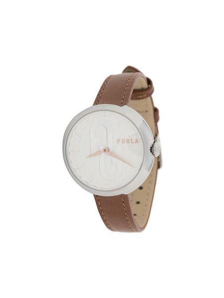 Z paskiem brązowy zegarek na skórzanym pasku okrągły z klamrą Furla