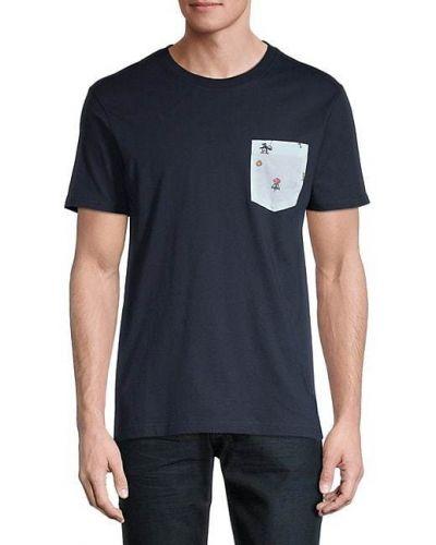Prążkowany t-shirt bawełniany krótki rękaw Original Penguin