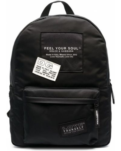 Ватный хлопковый черный рюкзак Dolce & Gabbana Kids