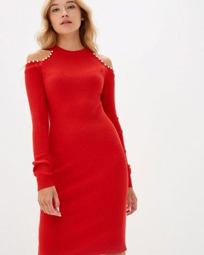 Платье вязаное красный Liana