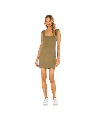 Шелковое зеленое платье в рубчик Michael Lauren