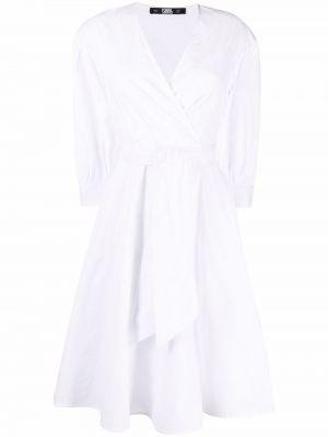 Белое платье миди с вышивкой с вырезом Karl Lagerfeld