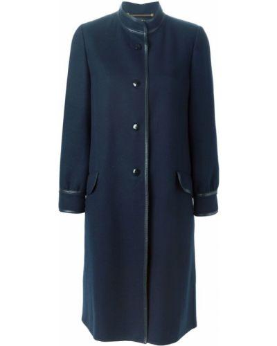 Синее шерстяное длинное пальто с капюшоном Louis Feraud Pre-owned