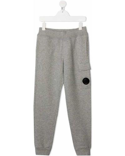 Серые спортивные брюки с нашивками свободного кроя с поясом Cp Company Kids