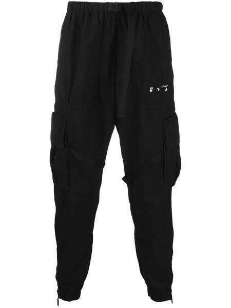 Czarny spodni bojówki z klamrą Off-white