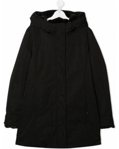 С рукавами классическое черное длинное пальто с капюшоном Woolrich Kids