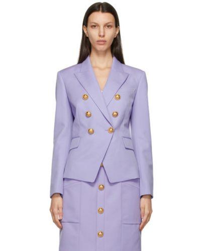 Фиолетовая длинная куртка двубортная с воротником Balmain