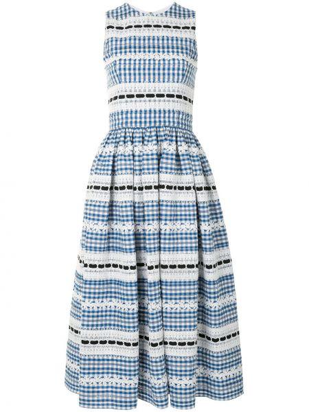 Кружевное синее платье миди без рукавов Carolina Herrera