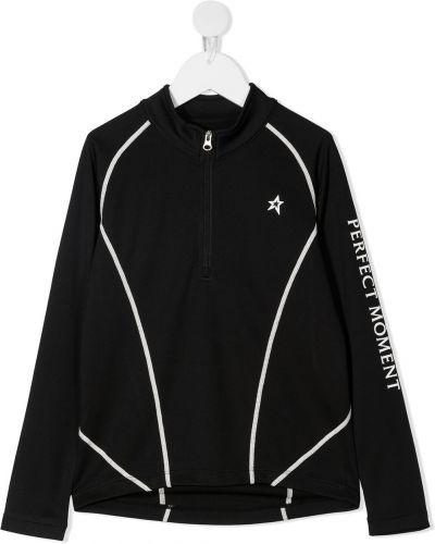 Czarny t-shirt z długimi rękawami z printem Perfect Moment Kids