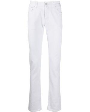 Хлопковые белые джинсы-скинни с поясом Jacob Cohen