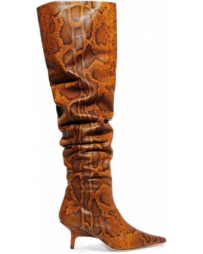 Сапоги на шпильке на каблуке из натуральной кожи с острым носом Rejina Pyo