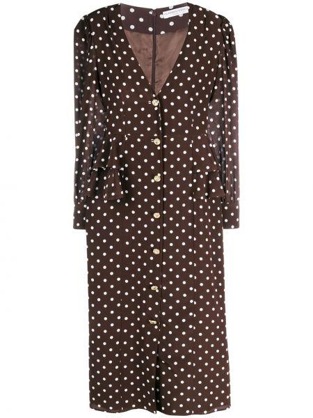 Шелковое с рукавами пышное платье миди Alessandra Rich