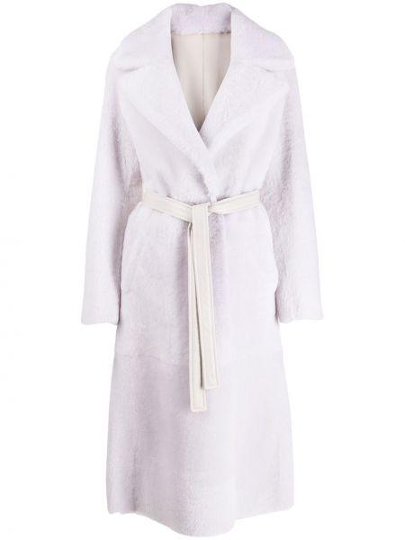 Шерстяное белое длинное пальто с капюшоном Blancha
