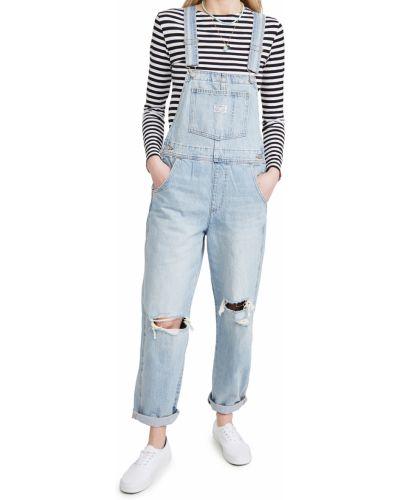 Синий джинсовый комбинезон с карманами на бретелях Levi's®