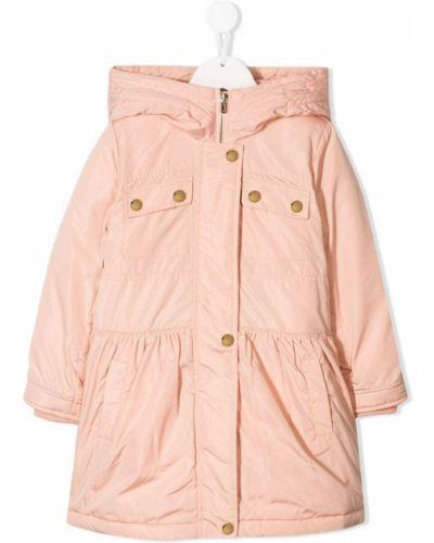 Różowy płaszcz przeciwdeszczowy z długimi rękawami Chloé Kids