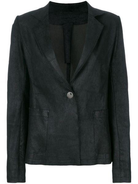 Черный приталенный кожаный классический пиджак Vanderwilt