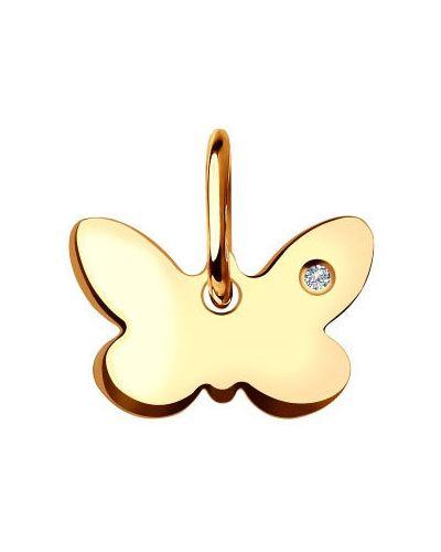 Золотая подвеска с бриллиантом с бабочками Sokolov