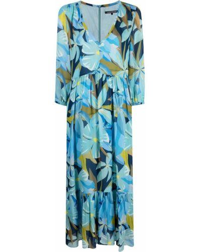 Синее платье в цветочный принт с вырезом Luisa Cerano