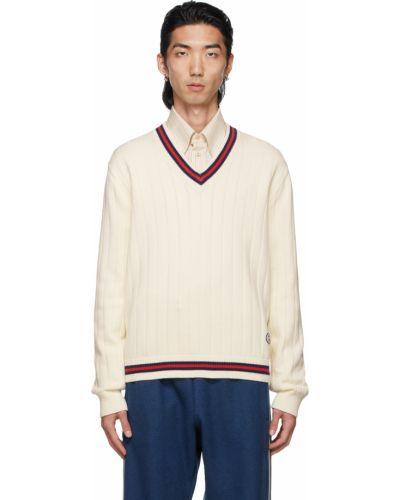 Sweter z haftem - biały Gucci