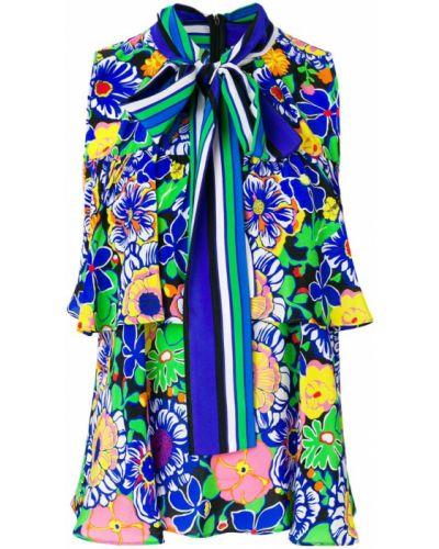 Блузка в полоску с цветочным принтом присборенная Msgm