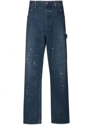 Niebieskie jeansy bawełniane z paskiem Orslow