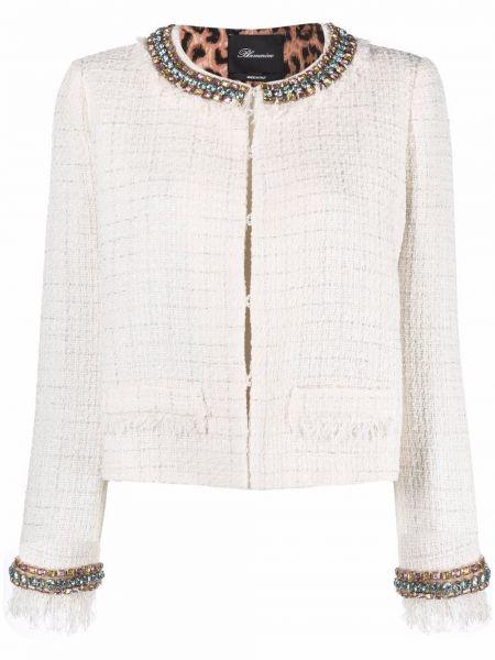 Удлиненный пиджак твидовый с вырезом круглый Blumarine