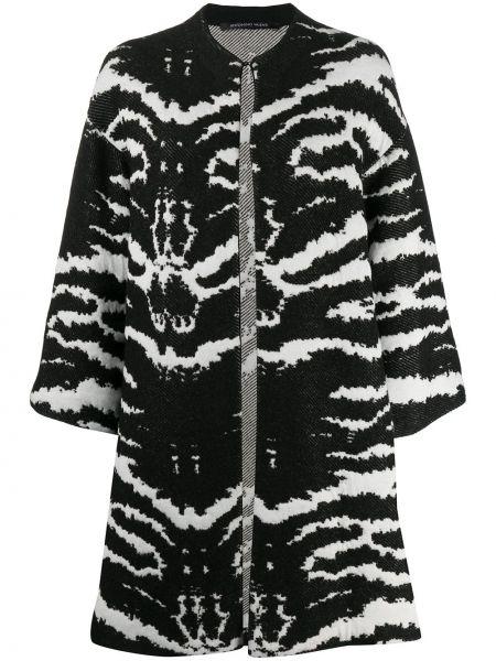 С рукавами черное длинное пальто из альпаки с круглым вырезом Antonino Valenti