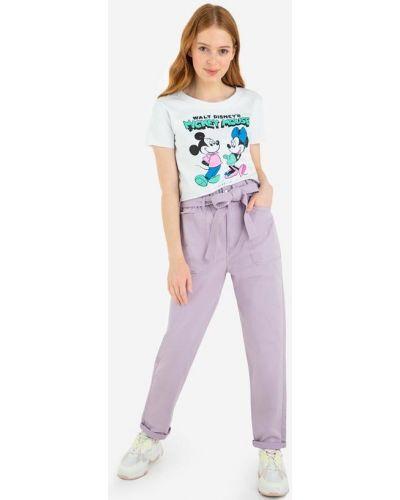 Брюки с накладными карманами с высокой посадкой из поплина Gloria Jeans