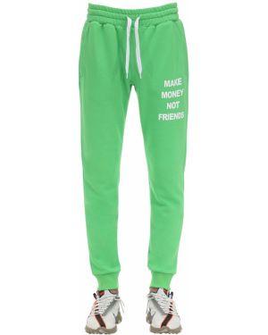 Prążkowane zielone joggery bawełniane Make Money Not Friends
