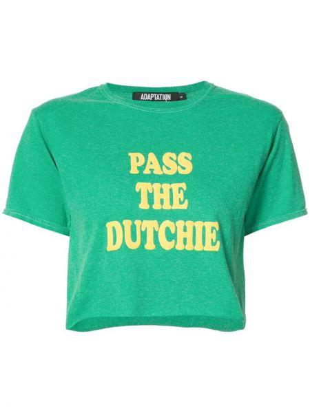 Zielony t-shirt bawełniany z printem Adaptation