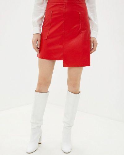 Кожаная юбка итальянский красный Massimiliano Bini