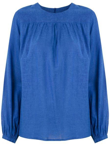 С рукавами синяя блузка из вискозы Andrea Marques