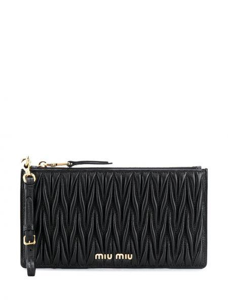 Skórzany portfel z kieszeniami Miu Miu