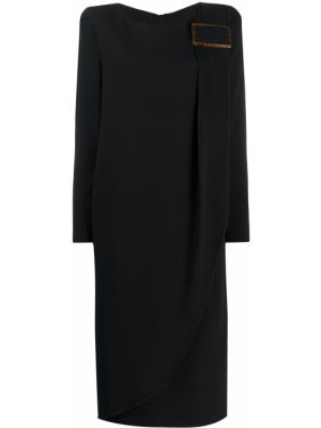 Платье миди на молнии черное Giorgio Armani