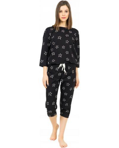Czarna piżama bawełniana krótki rękaw Vienetta