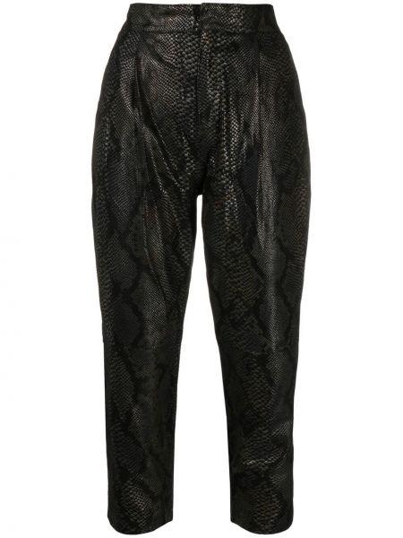 Прямые кожаные черные укороченные брюки Giorgio Brato