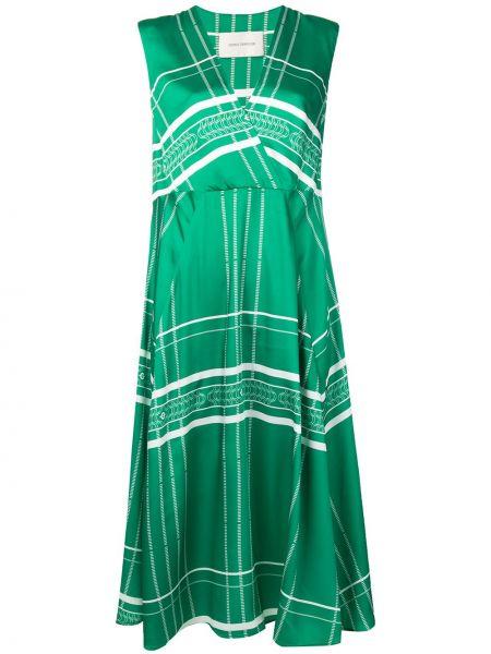 Zielona sukienka kopertowa bez rękawów Cedric Charlier