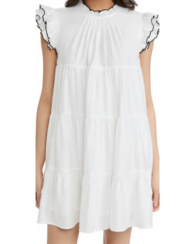 Белое платье с декольте с подкладкой English Factory