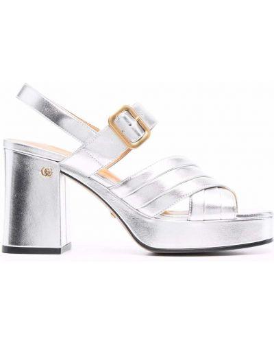 Sandały skórzane na obcasie Gucci