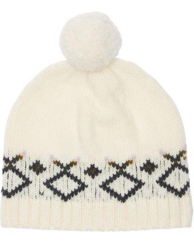 Белая шапка с мехом Bonpoint