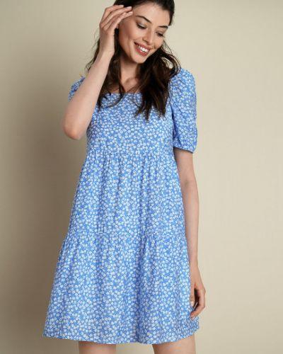 Синее платье мини с вырезом квадратное Ostin