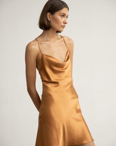 Шелковое платье мини с вырезом на бретелях Serenity
