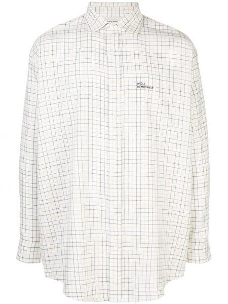 Biała koszula bawełniana z printem Drole De Monsieur