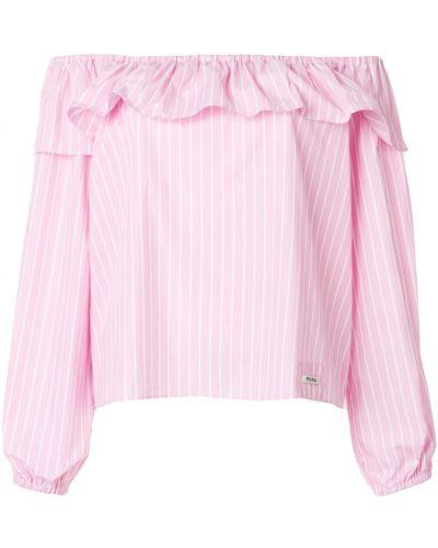 Блузка с открытыми плечами розовая в полоску Miu Miu