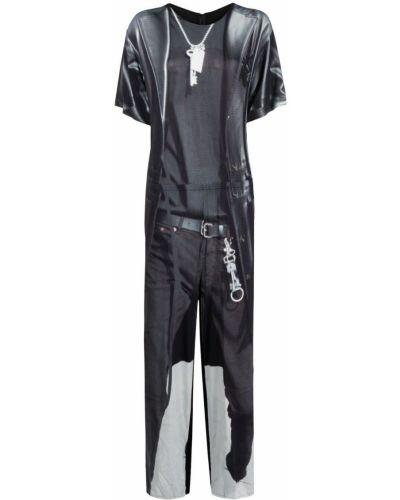 Czarny kombinezon krótki krótki rękaw z wiskozy Mm6 Maison Margiela
