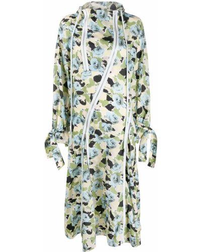 Платье миди в цветочный принт - зеленое Kenzo