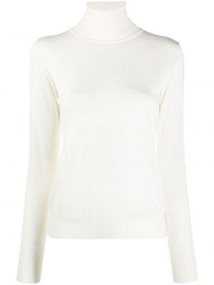 Белый шерстяной вязаный длинный свитер Roberto Collina