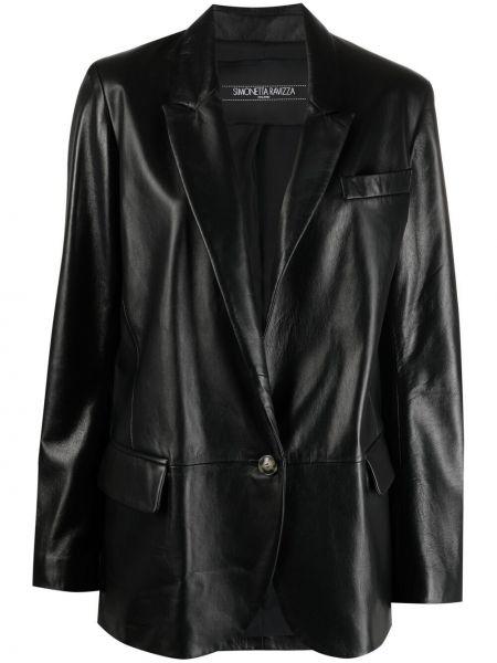 Черный кожаный классический пиджак на пуговицах Simonetta Ravizza