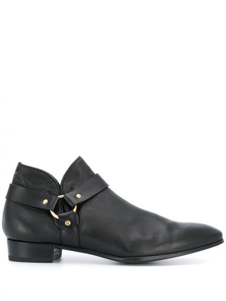С ремешком кожаные черные кожаные ботинки круглые Lidfort