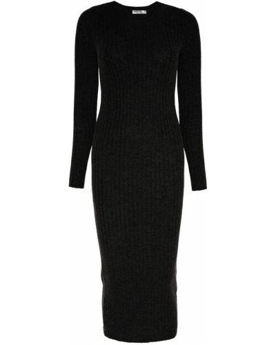 Платье миди с длинными рукавами в рубчик Addicted